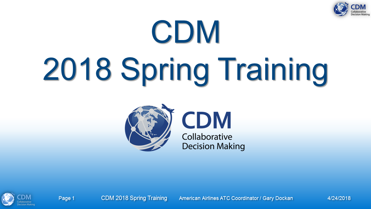 CDM Spring 2018 Training