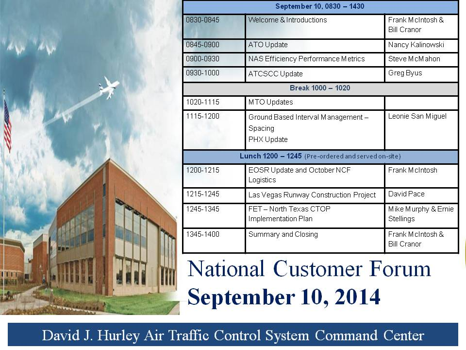National Customer Forum,  September 10, 2014 Agenda