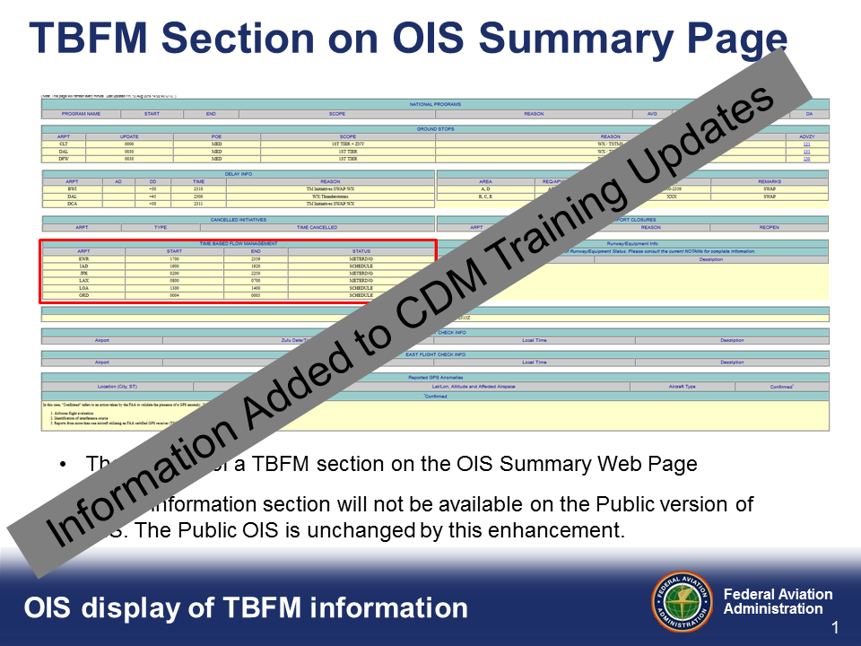TBFM Information on OIS